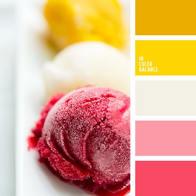 Summer, bright, juicy, rich palette that combines pink and yellow shades. The main colour that holds the whole composition is bright, very rich colour that almost goes into orange. This palette is suitable for the design of children's room, as well as for creation of a bright summer image.