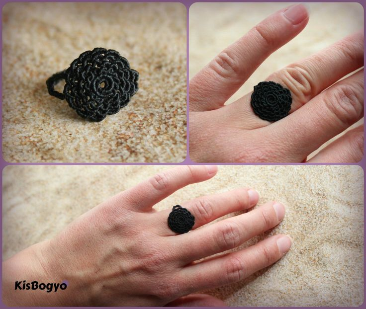 Its micro-micro macrame :) I made it with 0,25mm linhasita waxed thread. It is very small and cute, black rose ring.