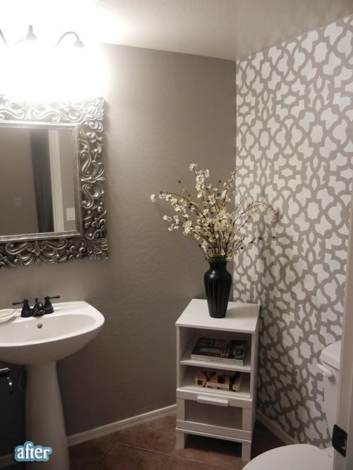 Check out this site! Super cheap and easy DIY projects that will completely transform a room! - Pinning now, reading later! :): Small Bathroom, Wall Stencil, Half Bath, Patterns Wall, Bathroom Ideas, Diy Projects, Powder Rooms, Stencil Wall, Accent Wall