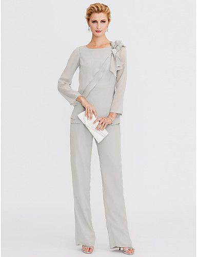 Pantsuit Jewel Neck Floor Length Chiffon Mother of the Bride Dress with Crystal Detailing Side Draping by LAN TING BRIDE®