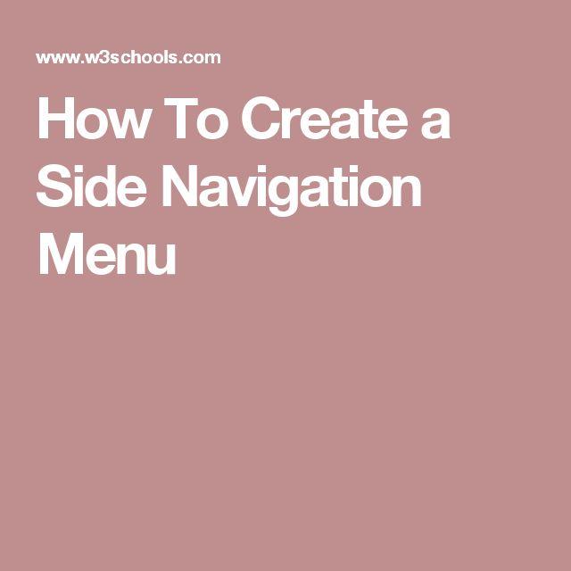 How To Create a Side Navigation Menu