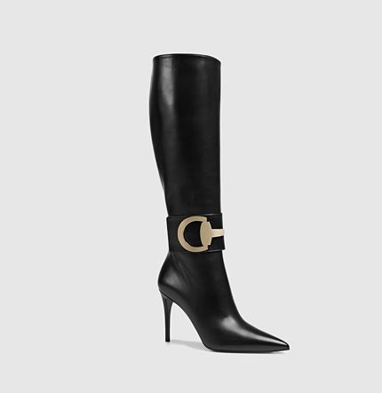 Gucci: Rooney leather knee boots, black boots with high heels for€1,250. See more boots >>> http://justbestylish.com/the-best-boots-of-this-season/