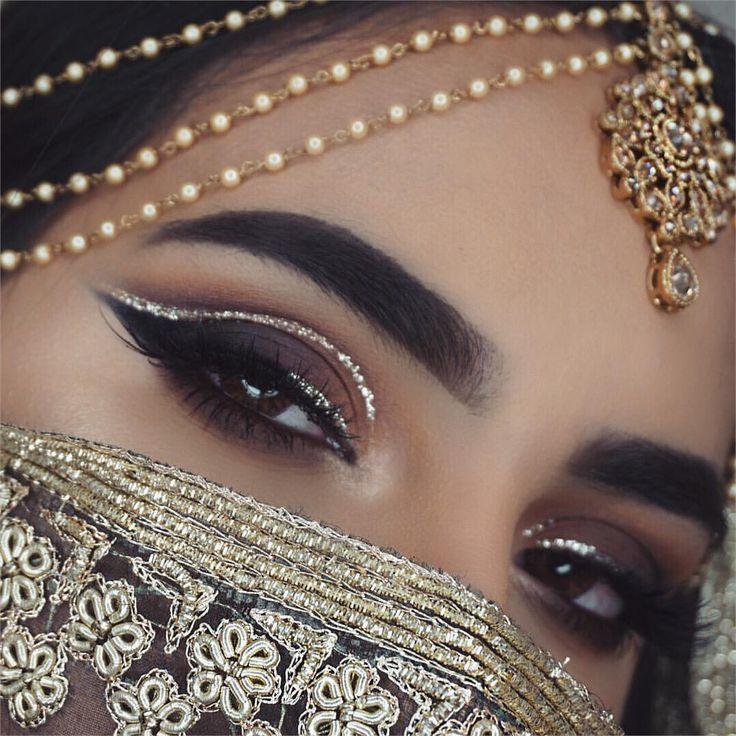 @makeupbyamtul Glitter. Cut. Crease. Eye makeup. Headpiece. Indian. Pakistani. Bridal makeup. Dress your face. Vegas_nay. Gold glitter