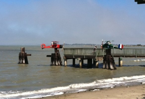 The Red Baron returns! New Emeryville mud flat sculptures, 2012