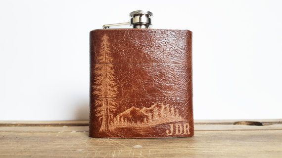Mountain Man Leather Flask - Personalized initials, Red Wood Tree -  brown leather, wedding hip flasks