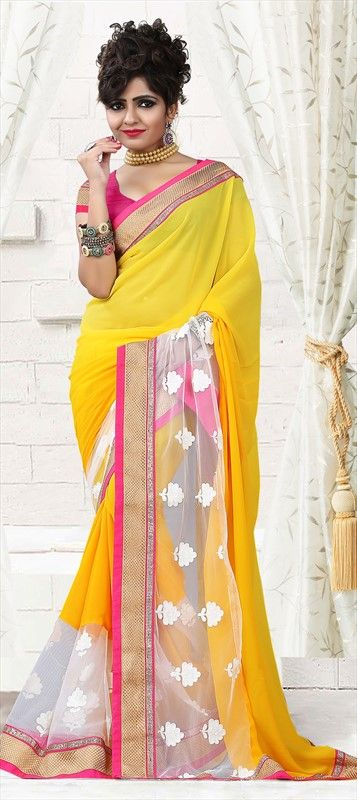 165131 Yellow color family Embroidered Sarees, Party Wear Sarees in Faux Georgette, Net fabric with Border, Machine Embroidery, Thread, Zari work with matching unstitched blouse.
