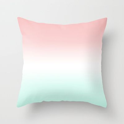 Coral Mint Fade Throw Pillow by daniellebourland - $20.00