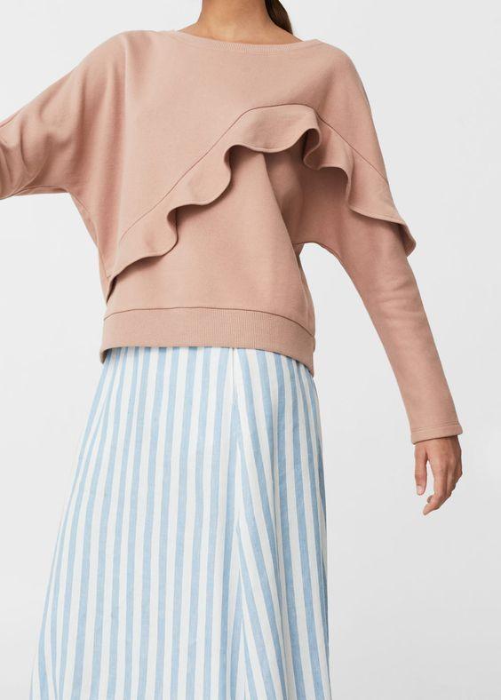 Sweat-shirt coton volants | MANGO: