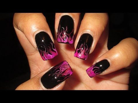 No Water Needed - DIY Neon Marble Flames nail art Tutorial - YouTube