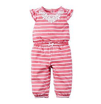 Carter's® Baby Girls' Pink Stripe Jumpsuit