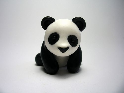 Little Panda Polymer Clay....No directions on how to make this but isn't he cute?....Seems like it should be easy enough