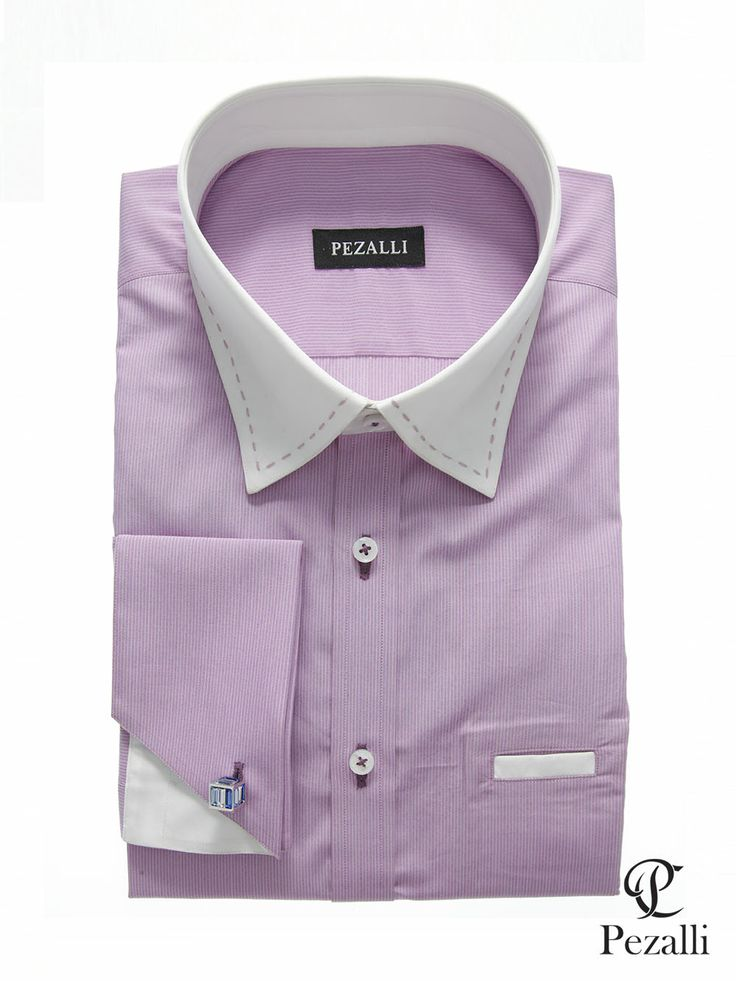 100% Egyptian Cotton shirt in lilac fabric with white collar and inner cuff. Pen pocket on front panel with purple button stitches.