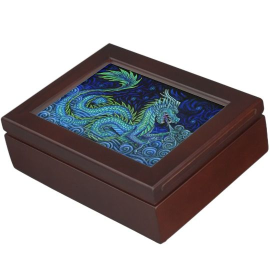 "Chinese Azure Dragon keepsake box by Rebecca Wang on Zazzle.  These beautiful keepsake boxes are made from mahogany-colored wood and the interior is lined with black velvet fabric.  The design is printed in full color on both sides of the lid.  Measures 6.5"" x 8.5"" x 2.75"".  Perfect for jewelry, watches, photos or other trinkets!"