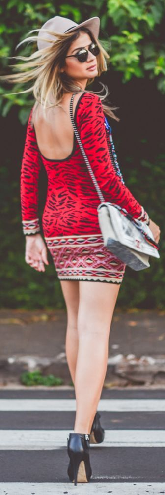 Galeria Tricot Red Knit Animal Print Open Back Bodycon Dress