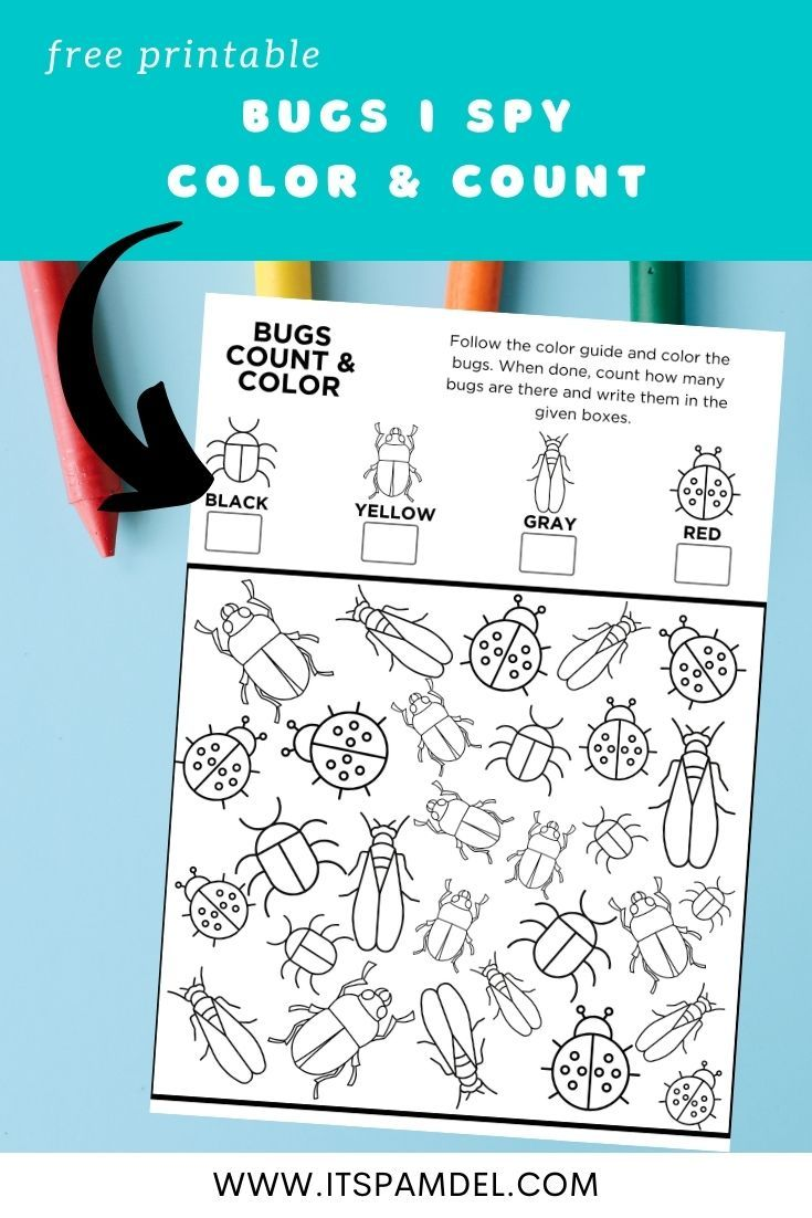 Free Printable: Bugs I Spy Count and Color Activity Page ...