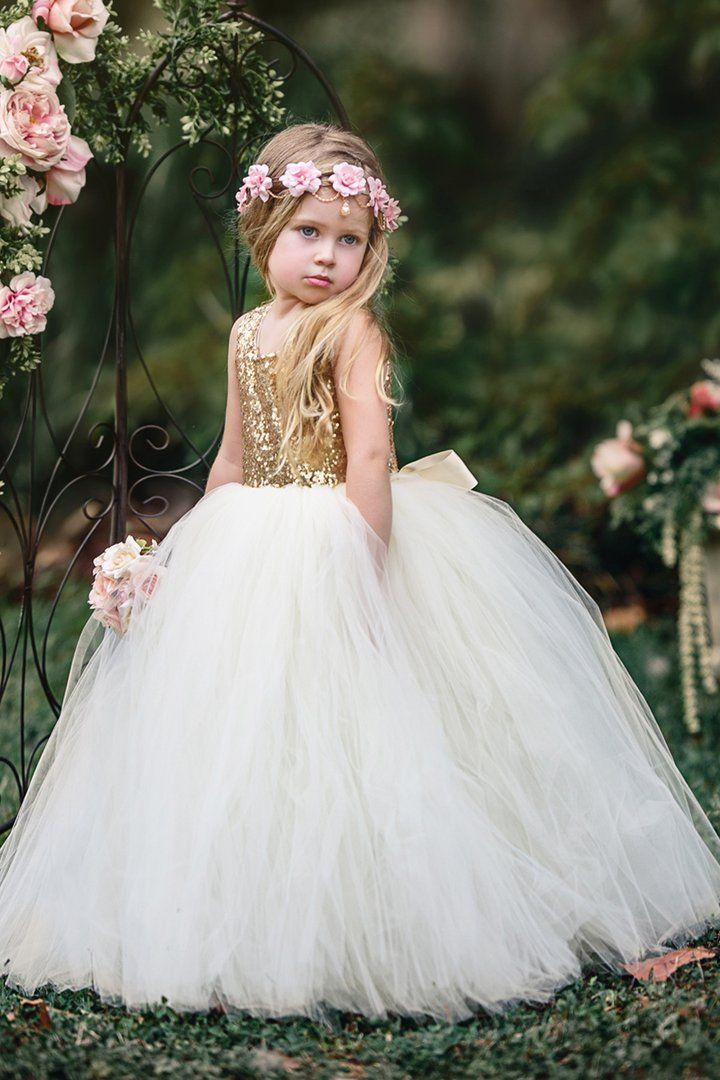 Giselle Gold Sequin and Ivory Gown in 2020 Flower girl