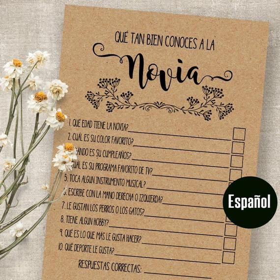 How Well Do You Know The Bride In Spanish Print Juegos De Despedida De Soltera Imprimibles Despedida De Soltera Ideas Juegos Preguntas De Despedida De Soltera