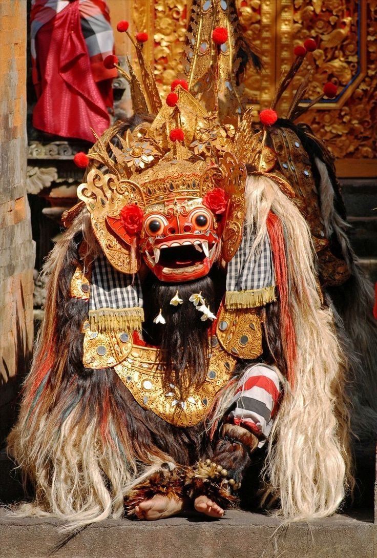 The mighty Barong lion, danced by two men. Barong is a Protector and fights Evil, in the mythologies of Bali, Indonesia.