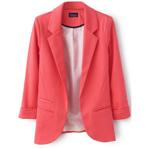 LUCLUC Watermelon Boyfriend Ruched Pockets 3/4 Sleeve Blazer ($40) ❤ liked on Polyvore featuring outerwear, jackets, blazers, pocket jacket, ruched jacket, 3/4 sleeve blazer, three quarter sleeve blazer and red jacket