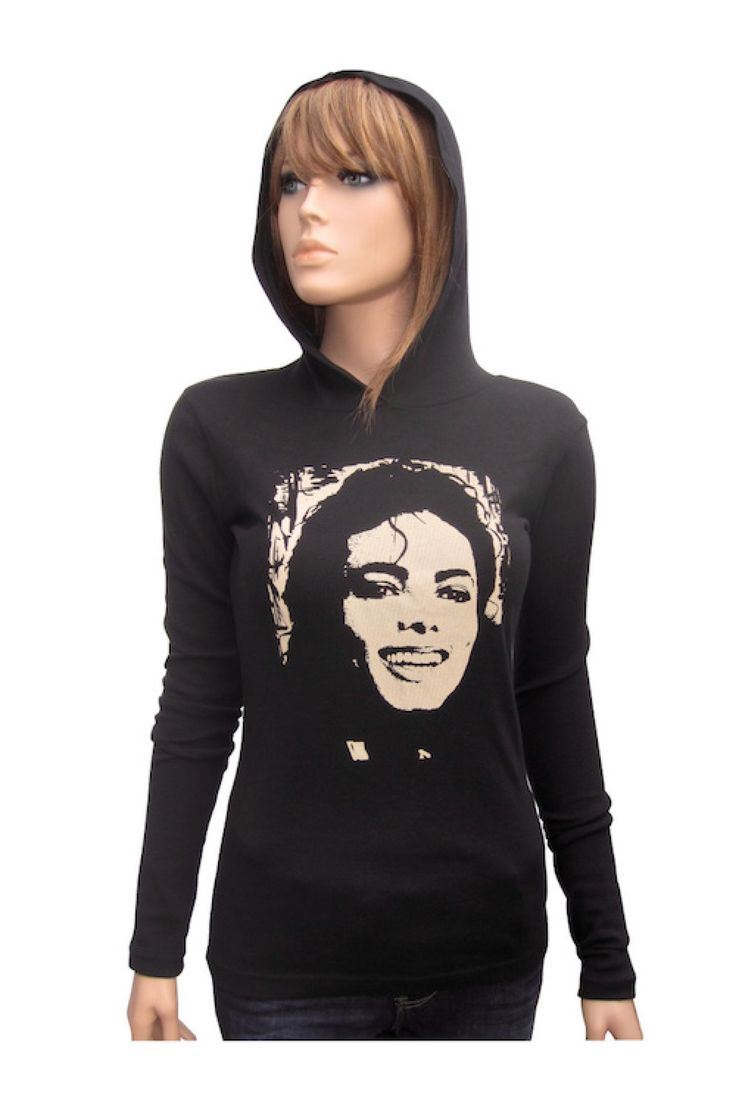 Black t shirt michaels - Michael Jackson Women S Baby Rib Long Sleeve Hoodie For Michaels Jackson Fans