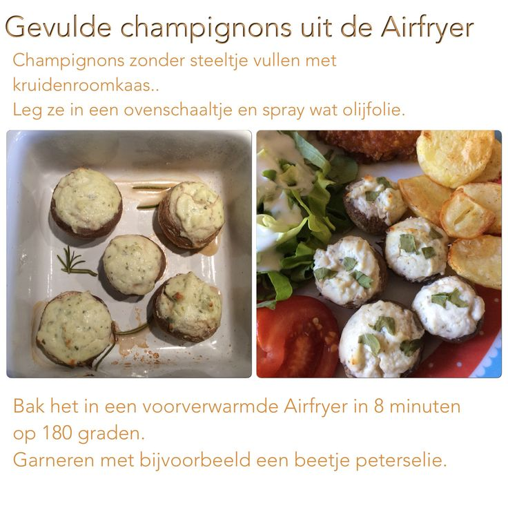 Gevulde champignons uit de Airfryer. 8 minuten, 180 graden. AK
