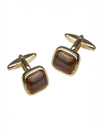 Gold Plated Tigers Eye Cufflinks - Available at Onyx Goldsmiths