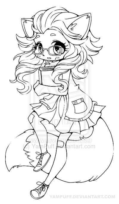 Fox girl chibi lineart by on - Coloriage chibi ...
