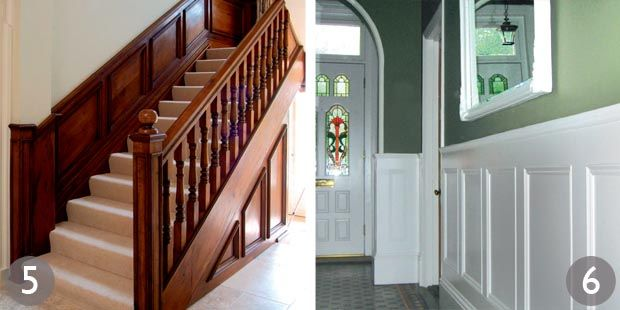 Oak staircase with panelled dado and hand-turned balusters; Bespoke MDF panelling in Heritage design