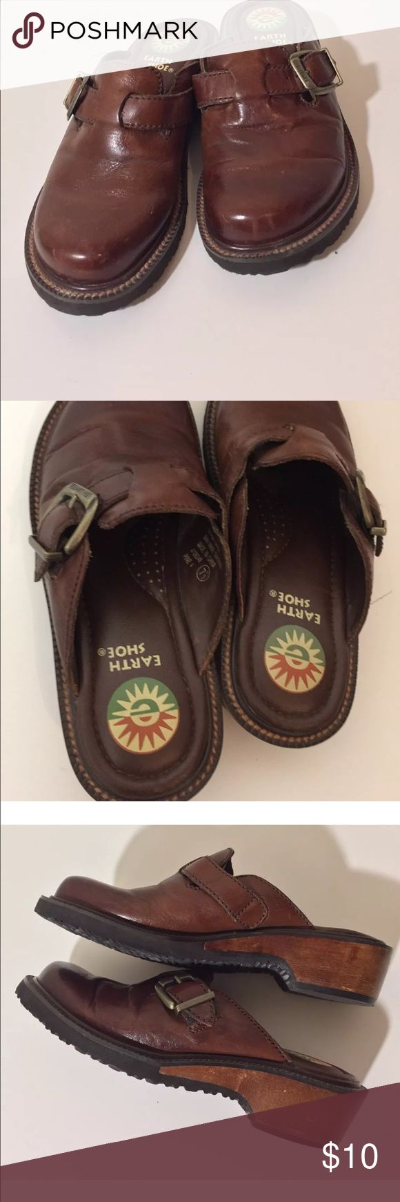 Earth shoe mule clogs 7.5 CLOGS MULES SLIP ON GELRON 2000 EARTH SPIRIT WOMEN'S SZ 7.5  BROWN LEATHER earth spirit  Shoes Mules & Clogs