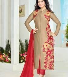 Buy Cream cotton embroidered semi stitched salwar with dupatta cotton-salwar-kameez online