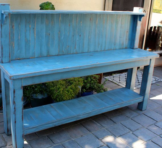 Potting Table - Kitchen Hutch - Handmade Furniture - Shabby - Cottage - Home Decor - Entryway Furniture - Reclaimed Wood Furniture