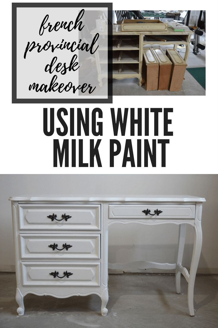 desk makeover using white milk paint painted furniture rh pinterest com