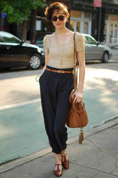 Offset the romance of a lace top with menswear-inspired pants.  vintage top, belt and sunglasses, Zara pants, Ferragamo shows, Topshop bag