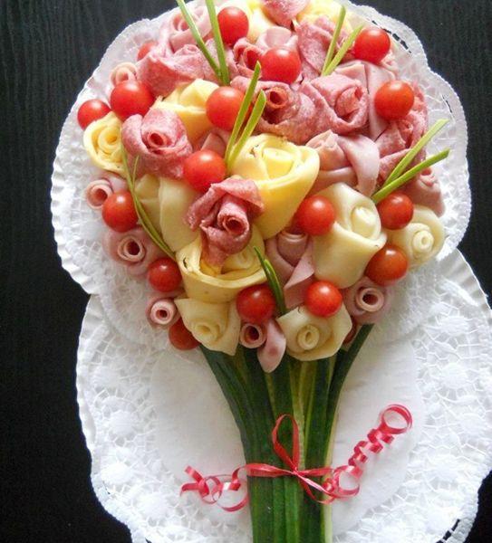 bouquet comestible : jambon emmental tomate cerise concombre