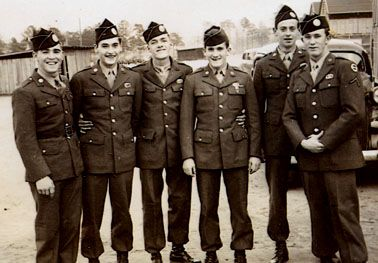This photo was made at the beginning of 1943, just as Easy Co. 506th members were graduating from jump school. They still wear the GHQ Reserve SSI. Left to right: Johnny Martin, Angelo Dukelis, Albert Blithe, Bill Guarnere, unk., and Burton Pat Christenson-photo courtesy of the Christenson family