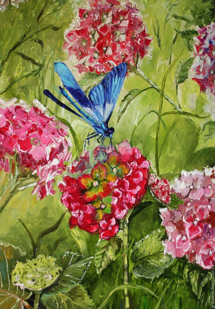 Купить Картина маслом с цветами Голубая стрекоза гортензия летний пейзаж - розовый, стрекоза