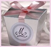 SIlver Chinese inspired box with Pink ribbon
