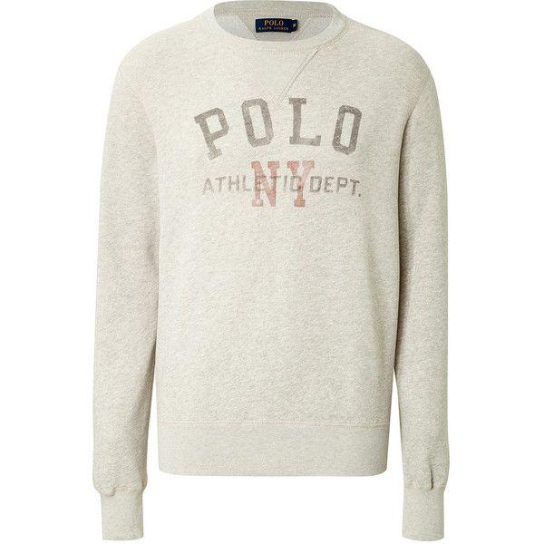 Ralph Lauren Polo Cotton Blend Logo Sweatshirt (€64) ❤ liked on Polyvore featuring men's fashion, men's clothing, men's hoodies, men's sweatshirts, beige, grey and mens grey sweatshirt
