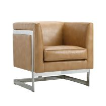 SOHO ARMCHAIR - PEANUT LEATHER | An exposed, stainless steel T-shaped frame defines this armchair from our Club Collection. Stocked in black, grey, peanut and white bonded leather with CA foam. Sits beautifully from all angles.