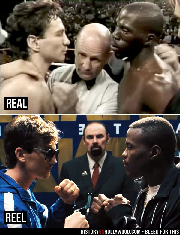 Vinny Pazienza vs. Roger Mayweather (top) and Miles Teller in the Bleed for This movie (bottom). See pics of the real people behind the movie: http://www.historyvshollywood.com/reelfaces/bleed-for-this/