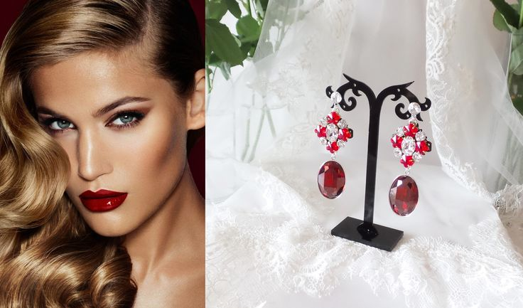 Gorgeous long earrings made with Swarovski Elements red and crystal in Dolce&Gabbana style
