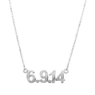 """The Date Necklace is the Perfect Gift for any special date such as a wedding, anniversary or graduation. Customize a gift that is both personal and beautiful. Personalize necklace by placing the date in the space below. For example, if the birthday is September 16, 2010, the date necklace would read """"9.16.10""""."""