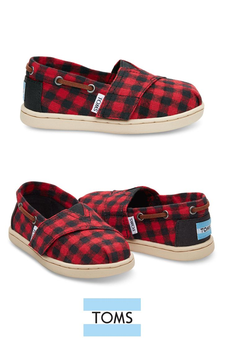 Toms Slip On Shoes In Red And Black Plaid For Kids Who