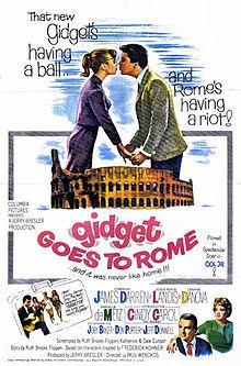 James Darren, Jessie Royce Landis, Cesare Danova. Director: Paul Wendkos. IMDB: 4.7 __________________________ http://en.wikipedia.org/wiki/Gidget_Goes_to_Rome https://www.rottentomatoes.com/m/gidget_goes_to_rome/ http://www.tcm.com/tcmdb/title/28250/Gidget-Goes-to-Rome/ Article: http://www.tcm.com/tcmdb/title/28250/Gidget-Goes-to-Rome/articles.html http://www.allmovie.com/movie/gidget-goes-to-rome-v19729