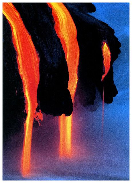 Beautiful: lava flowing into the ocean at Hawaii Volcanoes National Park.