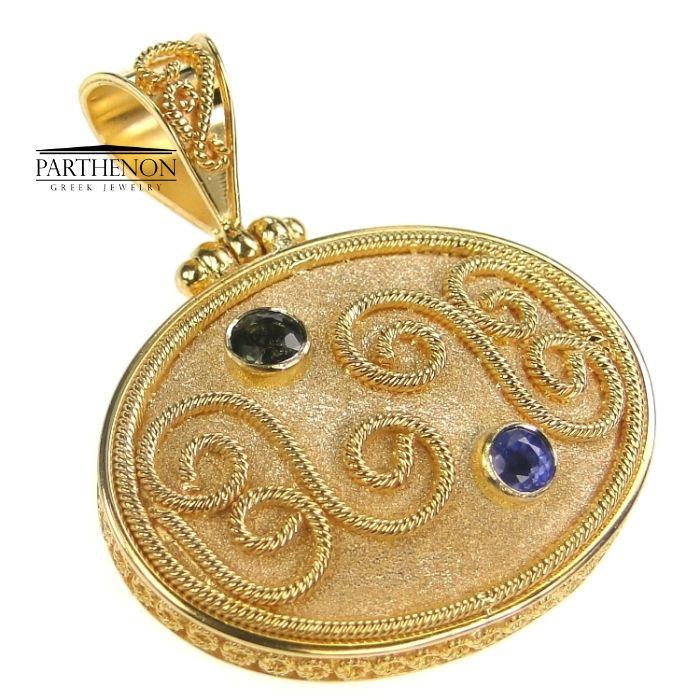 Damaskos: 18k Solid Gold Handmade Byzantine Oval Pendant, Sapphire #Damaskos