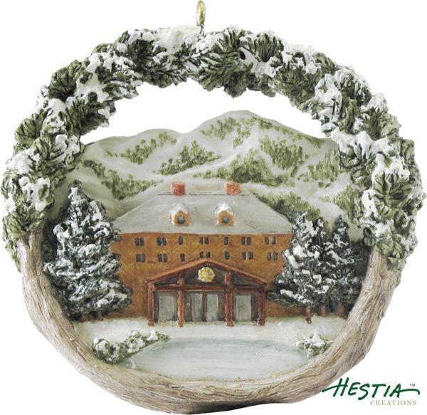 Sun Valley Lodge in Sun Valley, Idaho sculpted ornament by Hestia Creations. #hestiacreations #customgift #marbleheadma #sunvallylodge