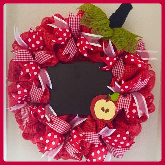 24 Burlap Apple Teacher Wreath by JDPtacek on Etsy