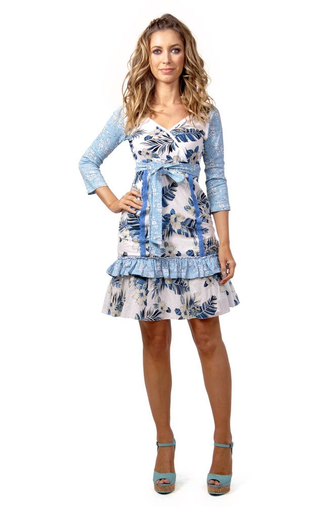 Savage Culture: Blue Carnations & Ruffles Mavi Sundress. Irresistible color & cut! Only on WC!