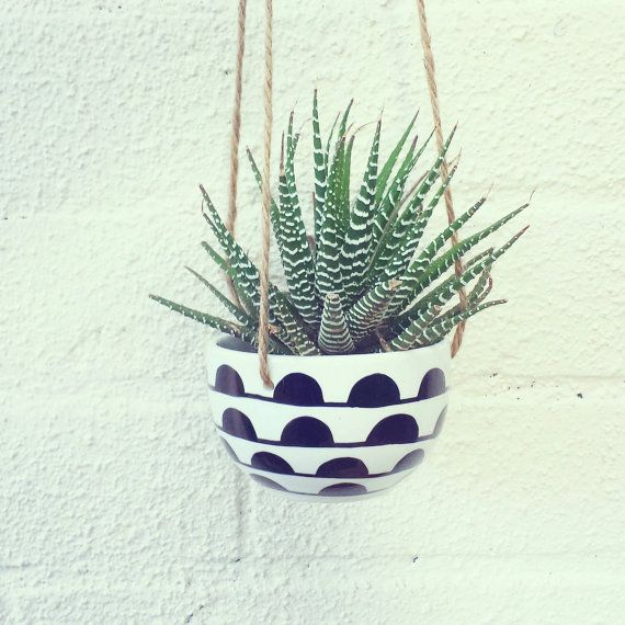 Hand Decorated Ceramic Hanging Planter